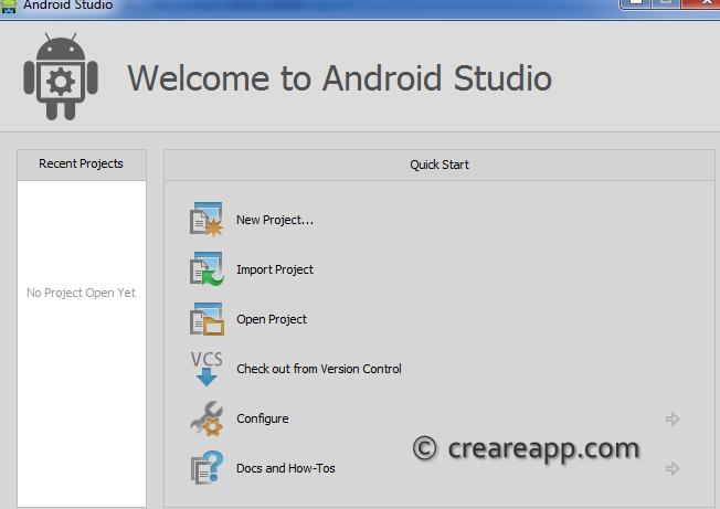 creare progetto con android studio welcome