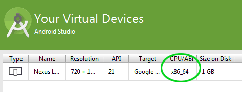 scelta cpu abi in android virtual device